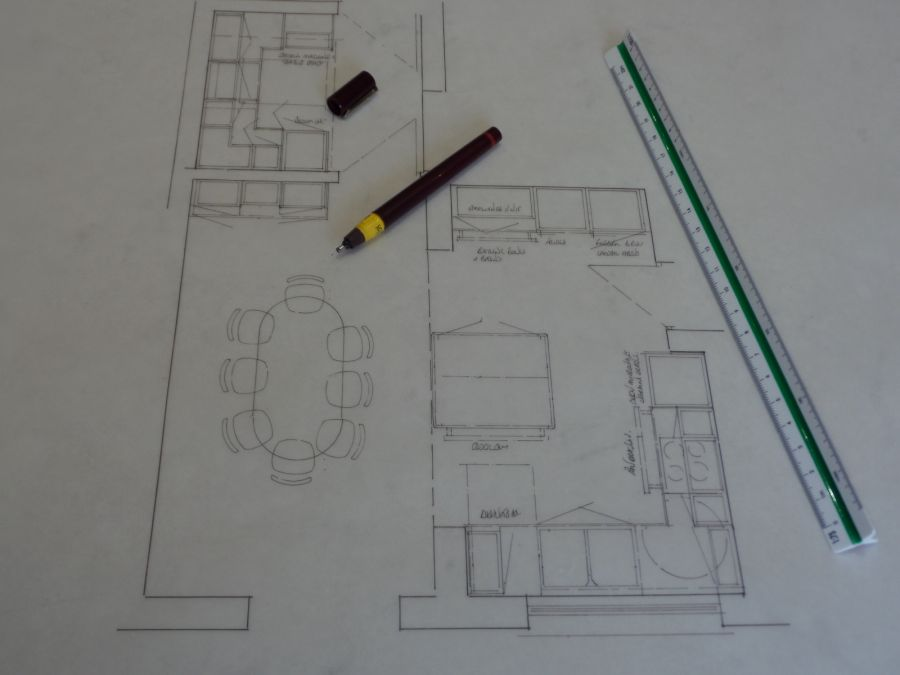 Kitchen plan drawing.